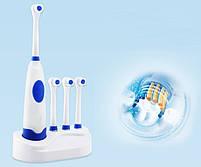 Электрическая зубная щетка с насадками Electric ToothBrush на батарейках, фото 4