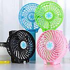 Портативний ручний або настільний міні вентилятор Fan Mini USB зарядкою | Рожевий, фото 5