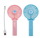 Портативный ручной или настольный мини вентилятор Mini Fan с USB зарядкой | Розовый, фото 8