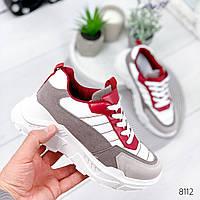 Кроссовки женские Jukny серый + бордо , женская обувь