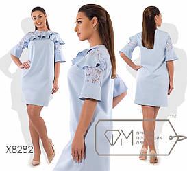 Платье  больших размеров, декор кружево и воланы   арт 590/1-43