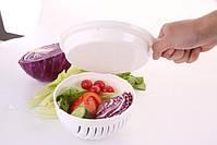 Овощерезка 2 в 1 Salad Cutter Bowl | Салатница | Чаша для нарезки овощей и салатов, фото 3
