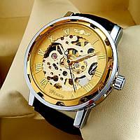 Механические мужские наручные часы скелетоны Winner Skeleton золотого цвета с автоподзаводом, кожаный ремешок