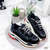 Кроссовки женские черный + белый , женская обувь