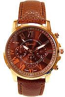 Женские (Мужские) кварцевые наручные часы Geneva на кожаном ремешке