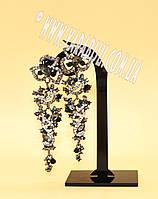 Серьги золото серебро металлические с камнями вечерние разкые цветаS-324 №67.2