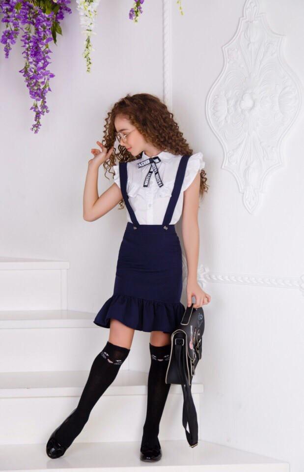 Юбка для девочки школьная с воланами .