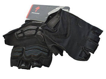 Перчатки с короткими пальцами и гелиевой подушечкой Geometry SPECIALIZED AS180056-14   Черные