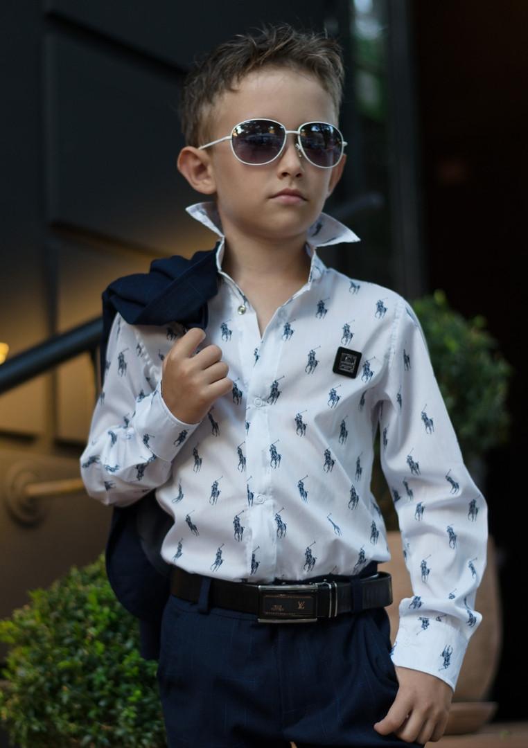 Стильная рубашка Polo в школу для мальчика длинный рукав.