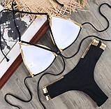 Купальник  раздельный черный  красивая спинка  с чашечками, фото 6