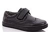 Туфли школьные черные на липучке  на мальчика, ТМ Солнце