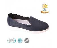 Слипоны , туфли синие с перфорацией  на девочку , подростковые Tom.m   Том.М, фото 1