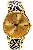 Женские (Мужские) кварцевые наручные часы Geneva на ремешке плетеном из нитей, фото 1