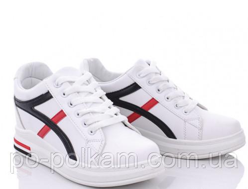 Кроссовки, сникерсы, высокие кеды, ботинки белые  на танкетке женские, подростковые   Ok Shoes, фото 1