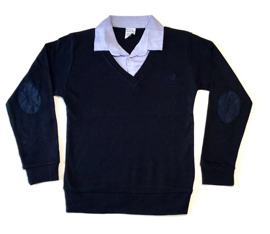 Рубашка-Обманка с голубым воротом