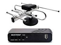 Комплект для телевидения Т2 и спутиникового ТВ - World Vision T62D и комнатая телевизионная антенна Т2 Черный