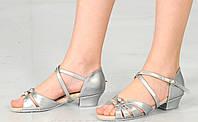 Туфли для танцев детские серебро