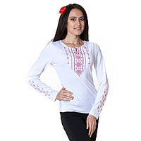 Вышитая футболка Стебнивка красная с длинным рукавом
