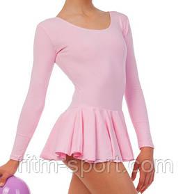 Купальник гімнастичний з спідницею рожевий