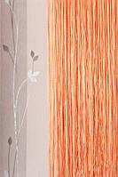 Шторы нити однотонные оранжевые №3