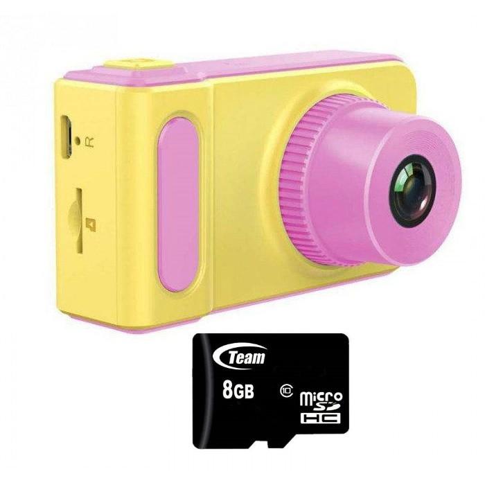 Smart Kids Camera V7 - Детский цифровой фотоаппарат + карта памяти - Розовой