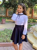 Блузка детская из хлопка с отделкой из атласной ленты (К28496), фото 1