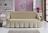 Чехол на диван с юбкой Натуральный Home Collection Evibu Турция