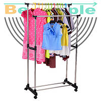 Напольная, двойная телескопическая вешалка-стойка для одежды Double Pole Clothersrack (30 кг)