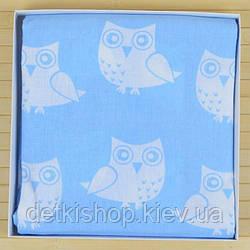 Простынь детская на резинке 60х120 (Omali, голубая с совами)
