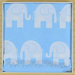 Простирадло дитяча на резинці 60х120 (Omali, блакитна слоники)