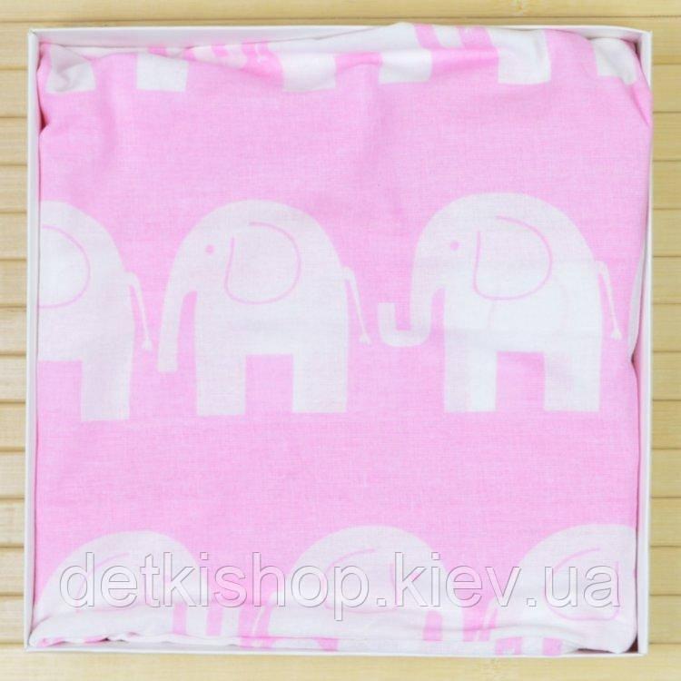 Простынь детская на резинке 60х120 (Omali, розовая слоники)