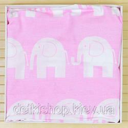 Простирадло дитяча на резинці 60х120 (Omali, рожева слоники)