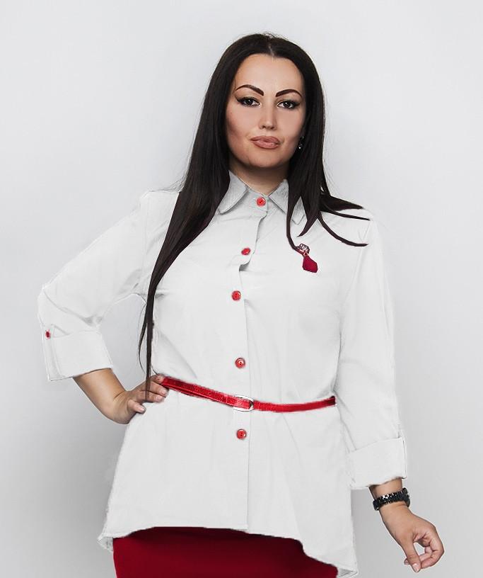 """Асимметричная женская рубашка """"Alison"""" с поясом и длинным рукавом (большие размеры)"""