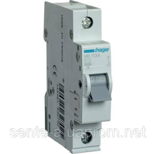 Автоматический выключатель 1 пол. 13А тип В 6КА МВ113А HAGER