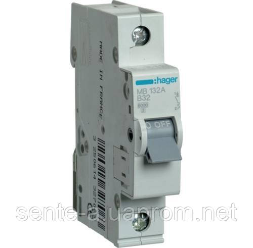 Автоматический выключатель 1 пол. 32А тип В 6КА МВ132А HAGER