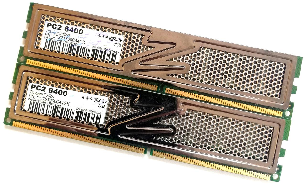 Пара оперативной памяти OCZ Titanium DDR2 4Gb (2Gb+2Gb) 800MHz PC2 6400U CL4 (OCZ2T800C44GK) Б/У