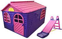 Детский игровой домик с горкой ТМ Doloni, пластиковый домик и горка для девочки