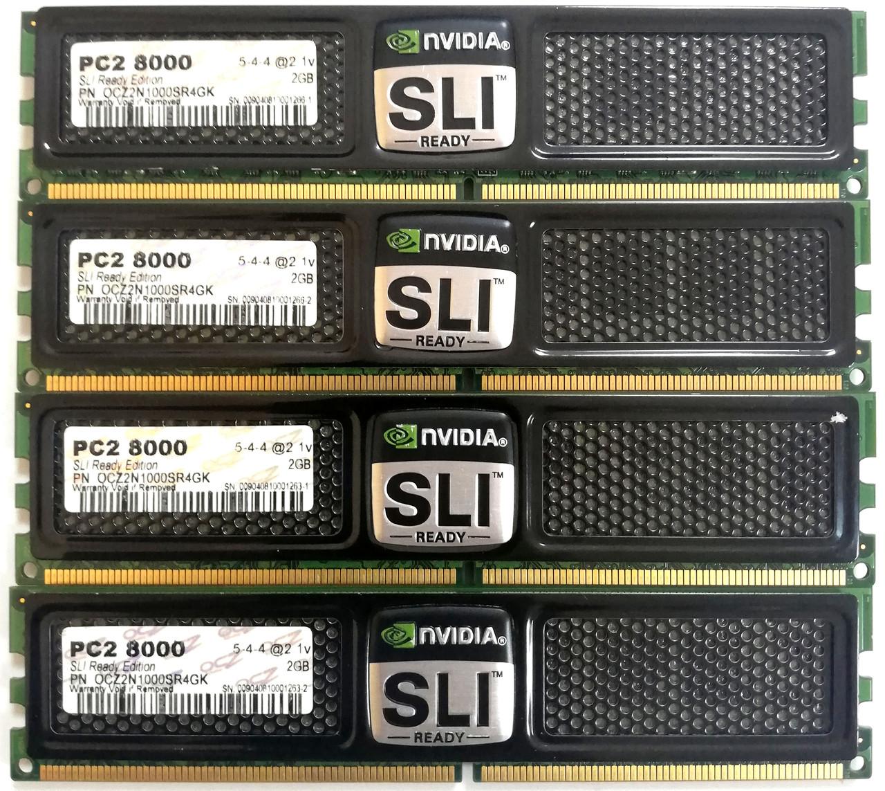 Комплект оперативной памяти OCZ SLI-Ready DDR2 8Gb (4*2Gb) 1000MHz PC2 8000U CL5 (OCZ2N1000SR4GK) Б/У