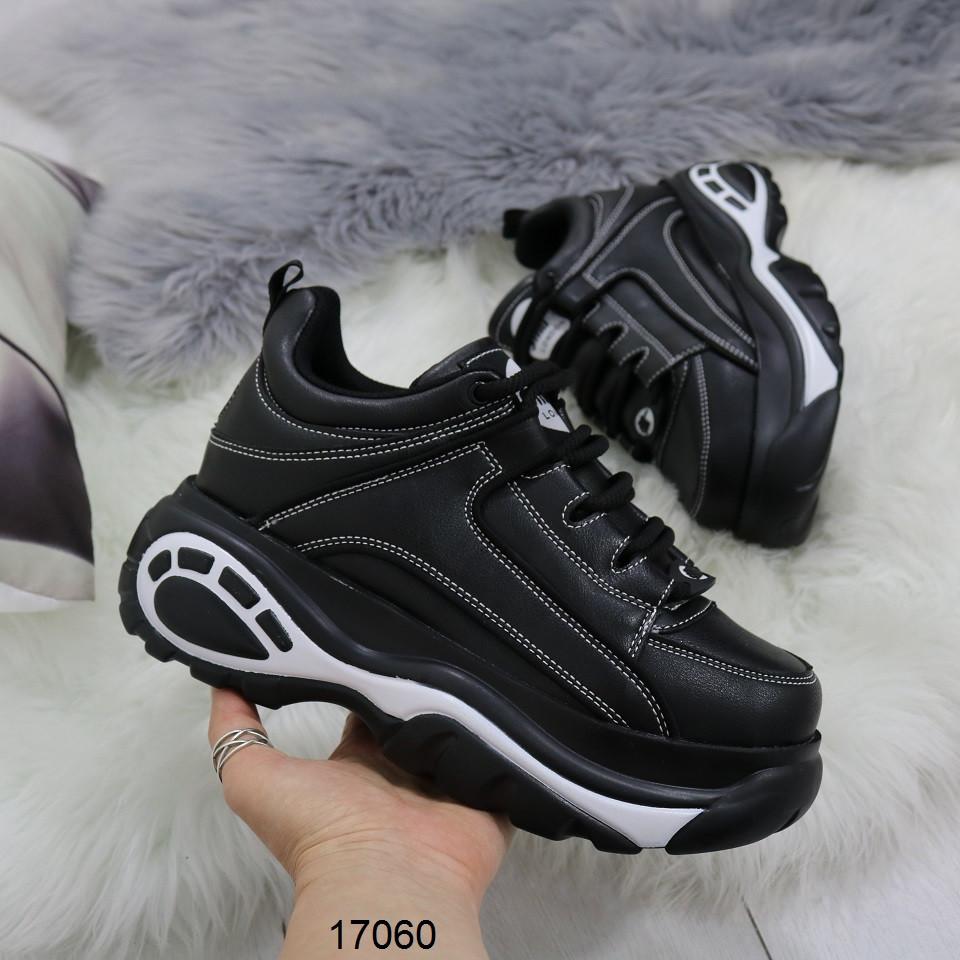 Женские черные кроссовки на массивной подошве в стиле buffalo буффало