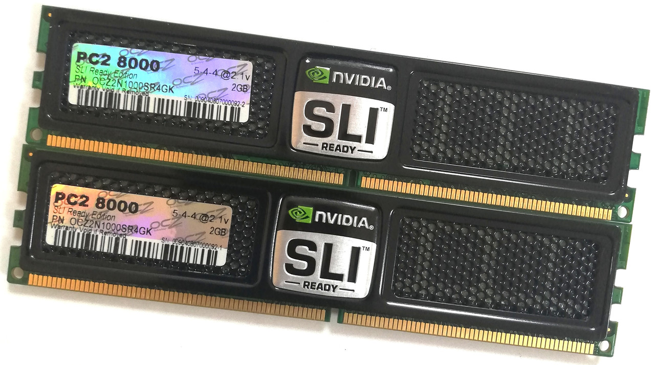 Пара игровой оперативной памяти OCZ SLI-Ready DDR2 4Gb (2Gb+2Gb) 1000MHz PC2 8000U CL5 (OCZ2N1000SR4GK) Б/У