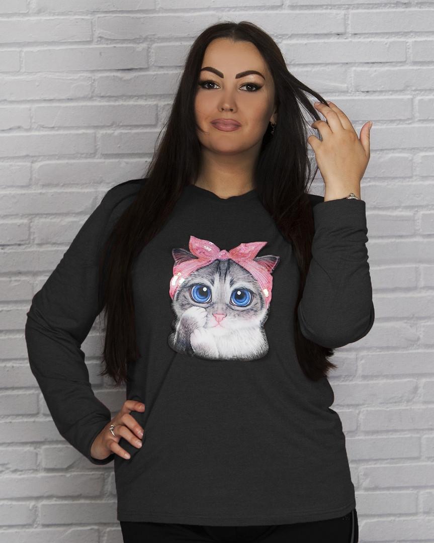 """Трикотажная женская кофта """"Cat"""" с длинным рукавом (большие размеры)"""