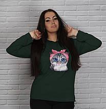 """Трикотажная женская кофта """"Cat"""" с длинным рукавом (большие размеры), фото 3"""