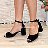 Босоножки женские замшевые на невысоком каблуке, цвет черный, фото 3