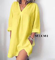 Х6322  Стильное льняное женское платье