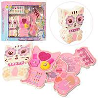 Детская косметика в шкатулочке Кошка, 3 яруса, тени, блеск, набор для маникюра, шкатулочка Котик, J1026
