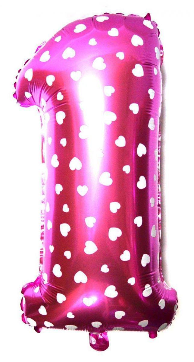 """Фольгированный воздушный шар Цифра """"1"""" 65 см Розовый"""