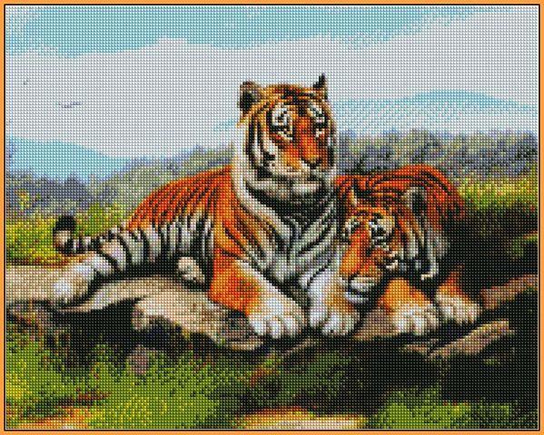Алмазная вышивка  40×50 см. Тигриное семейство (ST032)