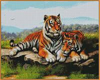 Алмазная вышивка  40×50 см. Тигриное семейство (ST032), фото 1