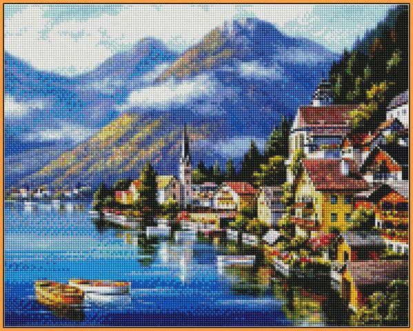 Алмазная вышивка  40×50 см. Альпийская деревня Художник Сунг Ким (ST218-VP)
