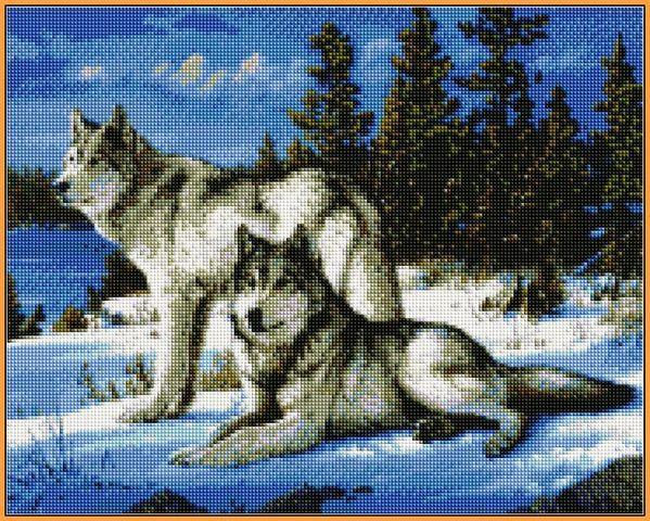 Алмазная вышивка  40×50 см. Волки на снегу Художник Хаутман Джозеф (ST236)
